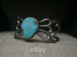 Vintage Native American Navajo Sterling Silver Sandcast Turquoise Cuff Bracelet