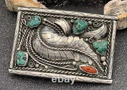 Vintage Native American Navajo Sterling Silver Turquoise Coral Belt Buckle Leaf