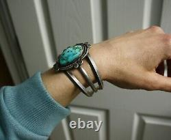 Vintage Native American Navajo Sterling Silver Turquoise Cuff Bracelet