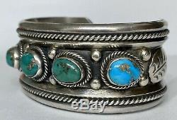 Vintage Native American Navajo Sterling Silver Turquoise Cuff Bracelet Nice