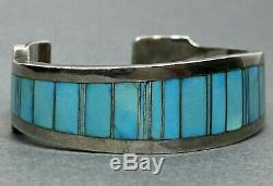 Vintage Native American Navajo Sterling Silver Turquoise Cuff Bracelet THICK