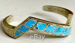 Vintage Native American Navajo Sterling Silver Turquoise Inlay Cuff Bracelet 39g