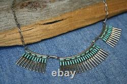 Vintage Native American Navajo Sterling Silver Zuni Turquoise Necklace