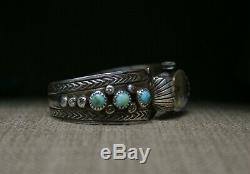 Vintage Native American Navajo Sterling Turquoise Watch cuff Bracelet