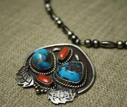 Vintage Native American Navajo Turquoise Coral Sterling Silver Necklace
