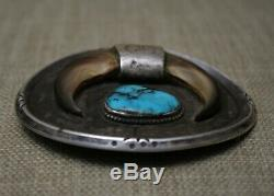 Vintage Native American Navajo Turquoise Faux Claw Sterling Silver Belt Buckle