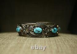 Vintage Native American Navajo Turquoise Foliate Sterling Silver Cuff Bracelet