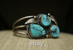 Vintage Native American Navajo Turquoise Sterling Cuff Bracelet Large Size