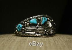 Vintage Native American Navajo Turquoise Sterling Silver Foliate Cuff Bracelet