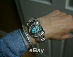 Vintage Native American Navajo Turquoise Sterling Silver Leaves Cuff Bracelet