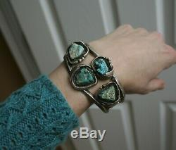 Vintage Native American Navajo Turquoise Sterling Silver Owl Cuff Bracelet