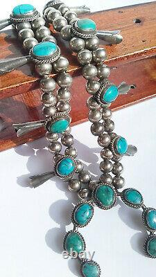 Vintage Native American Navajo Turquoise Sterling Silver Squash Blossom Necklace