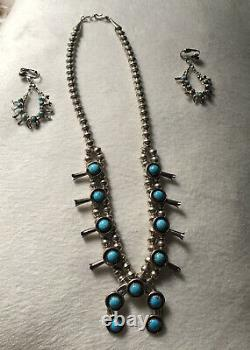 Vintage Native American Squash Blossom Sterling Turquoise Necklace And Earrings