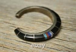 Vintage Native American Sterling Silver Turquoise & Black Onyx Cuff Bracelet