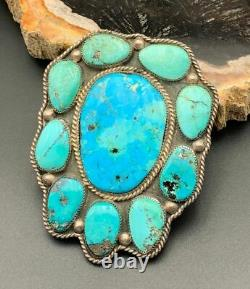 Vintage Native American Sterling Silver & Turquoise Bolo Tie Slide Signed