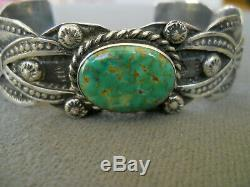 Vintage Native American Turquoise Stamped Sterling Silver Cuff Bracelet