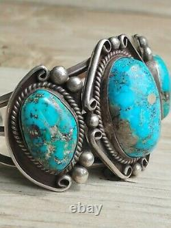 Vintage Native American Turquoise Sterling Cuff Bracelet
