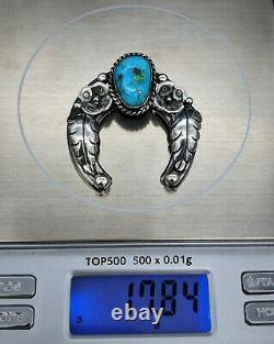 Vintage Native American Turquoise Sterling Silver Squash Blossom Naja Pendant