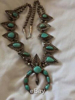 Vintage Navajo 240g Silver Squash Blossom Naja Turquoise Necklace