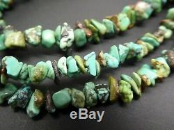 Vintage Navajo 3 Strand Turquoise Gemstone Shell Heishi Silver Bead Necklace 28