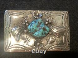 Vintage Navajo A. Benally Sterling Silver Turquoise Western Belt Buckle