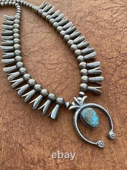 Vintage Navajo Bisbee Turquoise & Sterling Squash Blossom Necklace