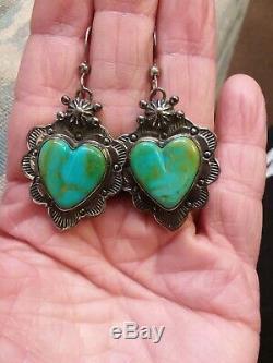 Vintage Navajo Blue Gem Turquoise Heart Sterling Silver Earrings