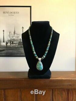 Vintage Navajo Chimney Butte Sterling Silver Turquoise Pendant Necklace 925