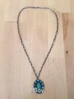 Vintage Navajo Classic Fred Harvey Kingman Turquoise Necklace/Pendant Ca 1940's