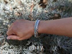 Vintage Navajo Cuff Bracelet Turquoise Sterling Silver Jewelry SouthWest Artisan