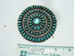 Vintage Navajo Dead Pawn Sterling Silver natural Turquoise Cluster Pin. 3