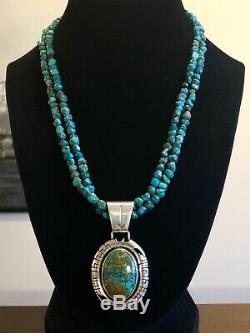 Vintage Navajo Florence Tahe Sterling Silver Turquoise Pendant Necklace 925