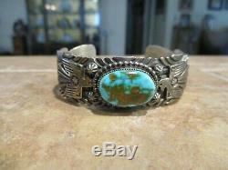 Vintage Navajo GARY REEVES (d.) Sterling Bisbee Turquoise THUNDERBIRD Bracelet
