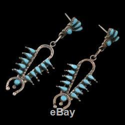 Vintage Navajo Handmade Turquoise Squash Blossom Sterling Silver Post Earrings