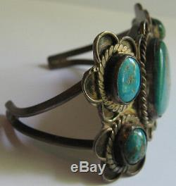 Vintage Navajo Indian Silver Speckled Hunky Turquoise Cuff Bracelet