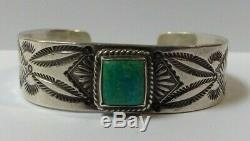 Vintage Navajo Indian Silver Square Stone Turquoise Cuff Bracelet