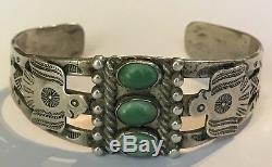 Vintage Navajo Indian Silver & Three Green Turquoise Thunderbird Cuff Bracelet