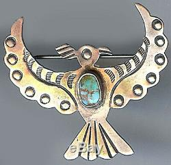 Vintage Navajo Indian Stamped Designs Silver Turquoise Thunderbird Pin Brooch