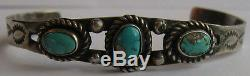 Vintage Navajo Indian Stamped Sun & Designs Silver Turquoise Cuff Bracelet