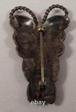 Vintage Navajo Indian Sterling Silver Butterfly Pin with Turquoise