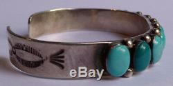 Vintage Navajo Indian Sterling Silver & Turquoise Cuff Row Bracelet