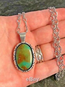 Vintage Navajo Ivan Kee Sterling Silver Turquoise Pendant Chain Necklace 925