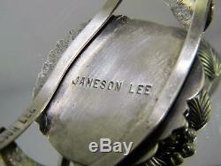 Vintage Navajo Jameson Lee Sterling Silver Big Arizona Turquoise Cuff Bracelet