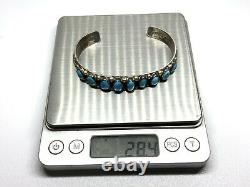 Vintage Navajo John Mike Sterling Silver Turquoise Row 9 Stone 7 Cuff Bracelet