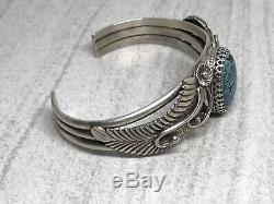 Vintage Navajo Kee Montoya Sterling Spiderweb Turquoise 6.5 Cuff Bracelet