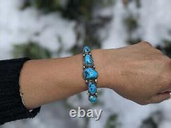 Vintage Navajo Kingman Turquoise Cuff Bracelet Signed D Cadman SIlver Jewelry