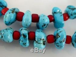 Vintage Navajo MC Turquoise Nugget Gemstone Coral Large Sterling Necklace 18