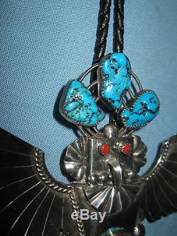 Vintage Navajo Mkd. Sterling Silver Kachina Bolo Artist Sign Turquoise & Corral
