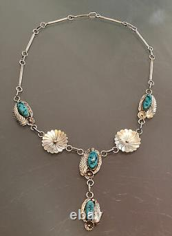 Vintage Navajo Native America Sterling Silver Turquoise Squash Blossom Necklace