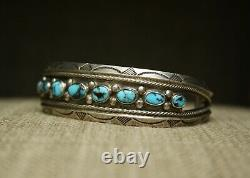 Vintage Navajo Native American Morenci Turquoise Sterling Silver Cuff Bracelet